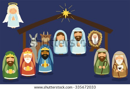 Cute hand drawn characters of Nativity scene can be used as Christmas school play banner - stock vector