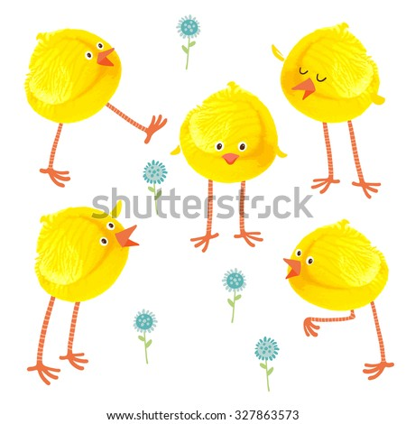 Cute hand drawn chicks set. Watercolor funny baby chickens. Watercolor / acrylic yellow kids corkprint craft. Cartoon vector eps 10 illustration on white background. Baby shower / Easter card design - stock vector