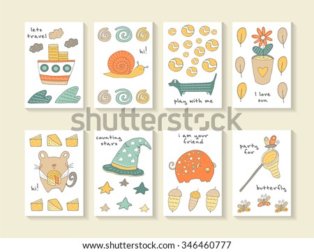 Cute hand drawn doodle baby shower cards, brochures, invitations with ship, snail, wave, cloud, dog, ball, flower pot, leaf, mouse, cheese, pig, acorn, butterfly, star, hat. Cartoon animals background - stock vector