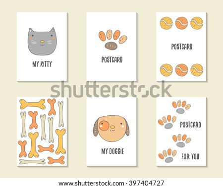 Cute hand drawn doodle birthday, party, baby shower cards, brochures, invitations with cat, dog, bone, paw prints, tennis ball. Cartoon objects, animals background. Printable templates set - stock vector