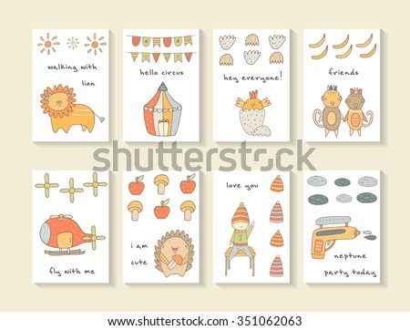 Cute hand drawn doodle cards, brochures, invitations with lion, circus, flags, sun, chicken, egg, monkey, banana, helicopter, apple, hedgehog, pistol. Cartoon animals, objects background for children - stock vector