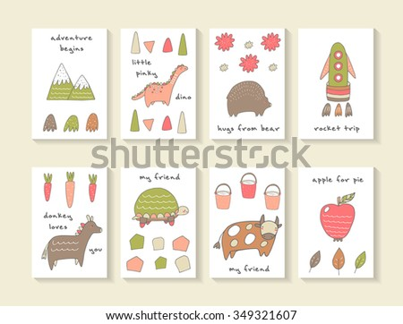 Cute hand drawn doodle cards, brochures, invitations with mountain, dinosaur, bear, rocket, carrot, donkey, turtle, cow, bucket, apple, leaf. Cartoon animals, objects background for children - stock vector