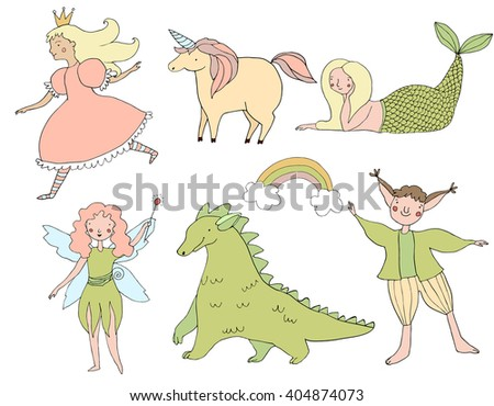 Cute hand drawn doodle fairy tale characters. Princess, fay, dragon, elf, unicorn, mermaid. Girlish and childish illustration. Handdrawn design elements. - stock vector