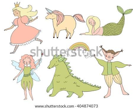 Cute hand drawn doodle fairy tale characters. Princess, fay, dragon, elf, unicorn, mermaid. Girlish and childish illustration. Handdrawn design elements. - stock vector