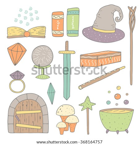 Cute hand drawn doodle magic objects collection including sword, ring, crystal, book, magic ball, mushroom, wooden door, hat, wand, magic stick, cauldron with potion, casket, flute. Magic icons set - stock vector