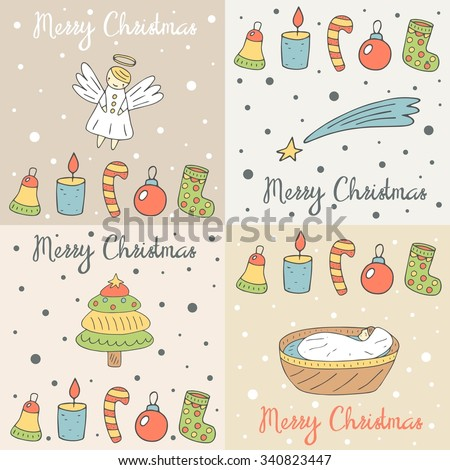 Cute hand drawn doodle merry Christmas cards, postcards, covers collection with angel, falling star, baby Jesus, christmas tree, sock, candle, candy stick, bell, ball, snow background - stock vector