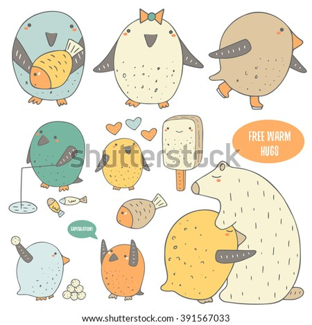 Cute hand drawn doodle penguins collection icnluding penguin with fish, girl penguin, skating penguin, fishing penguin, penguin with ice cream, penguins playing snowballs, penguin hugging polar bear. - stock vector