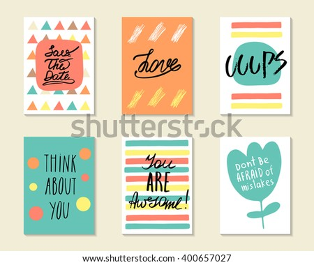 Cute hand drawn doodle postcards, cards, covers with different elements and quotes including love, think about you, you are awesome, save the date. Positive printable templates set - stock vector