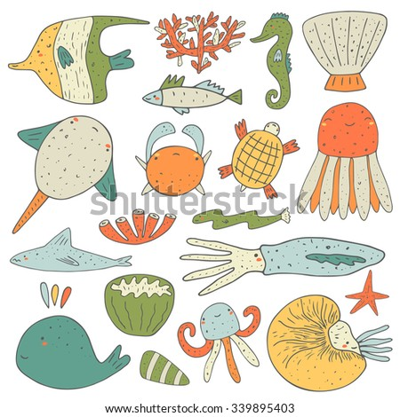 Cute hand drawn doodle sea animals collection including sea star, fish, whale, shell, coral, crab, octopus, jellyfish, nautilus, turtle, eel, angel fish, sea horse, shark, squid, ray. Sea animals icon - stock vector