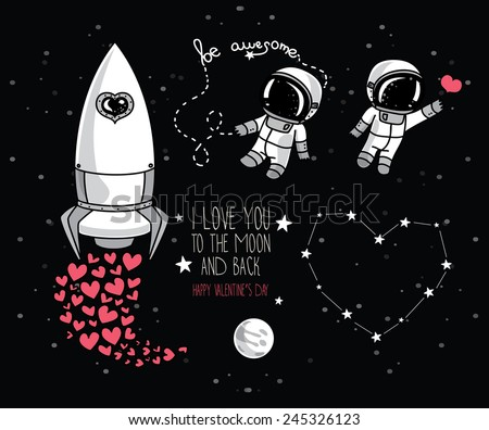 cute hand drawn elements for valentine's day design: moon, stars, astronauts floating in space and rocket, cosmic vector illustration - stock vector