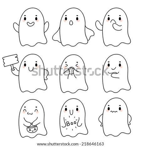 Cute hand drawn ghosts, vector. - stock vector