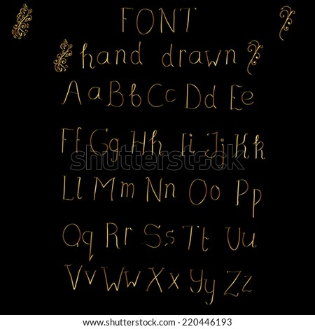 Cute hand drawn golden alphabet made in vector. ABC for your design. Easy to use and edit letters. - stock vector