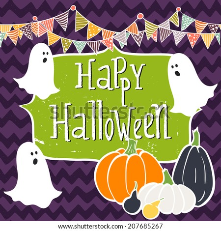 Cute hand drawn halloween invitation or greeting card template with cartoon bunting flags, ghosts, colorful pumpkins and frame with hand written lettering on chalkboard background. - stock vector