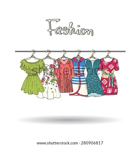 Cute hand drawn illustration with fashionable summer dresses for women on hangers on white background. Vector icons for use in design - stock vector
