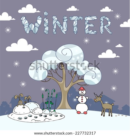 Cute hand drawn illustration with winter landscape. Vector for use in design - stock vector