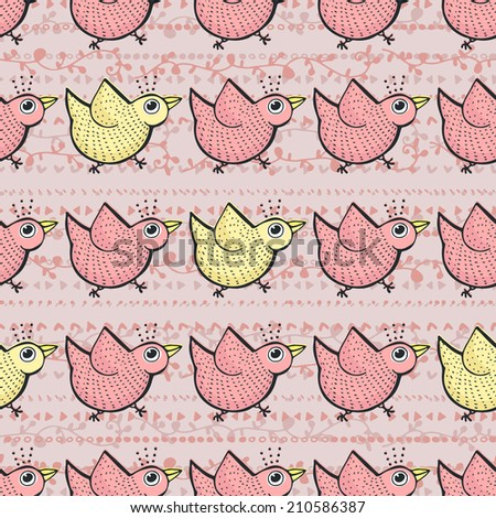 Cute hand drawn seamless pattern with birds. Doodle vector animal texture. - stock vector