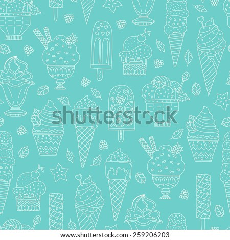 Cute hand drawn seamless pattern with different types of ice cream. Doodle texture with sweet desserts. Perfect background for cafe or restaurant menu.  - stock vector