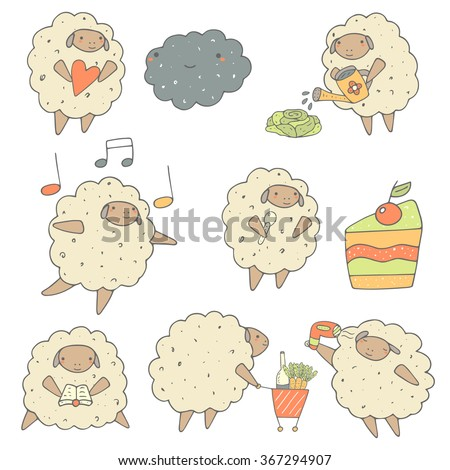 Cute hand drawn sheep set including ship with heart, dancing sheep, sheep and cake, sheep reading a book, sheep with product cart, sheep with hair dryer, sheep watering cabbage. Funny characters set - stock vector