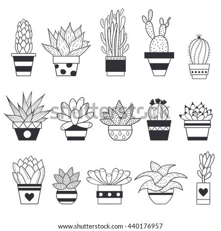 Cacti Pots Stock Vectors & Vector Clip Art | Shutterstock