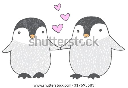 Cute hand drawn vector sketch of two baby penguins holding hands - stock vector