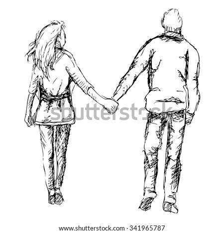 Pictures Of Drawing Of Couple Holding Hands Walking Rock Cafe