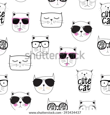 Cute Handdrawn Cat Seamless Pattern Vector Illustration EPS10 - stock vector