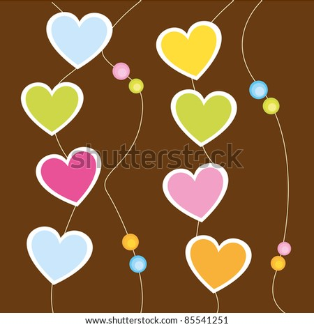 cute hanging hearts over brown background. vector - stock vector