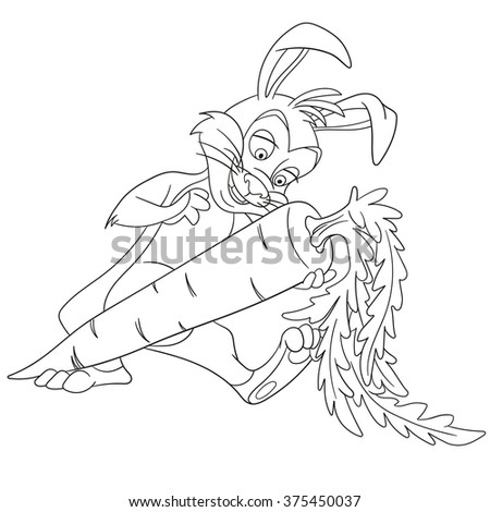 cute happy and cheerful cartoon easter bunny (paschal rabbit) is holding big and tasty carrot for the holiday dinner, isolated on a white background - stock vector