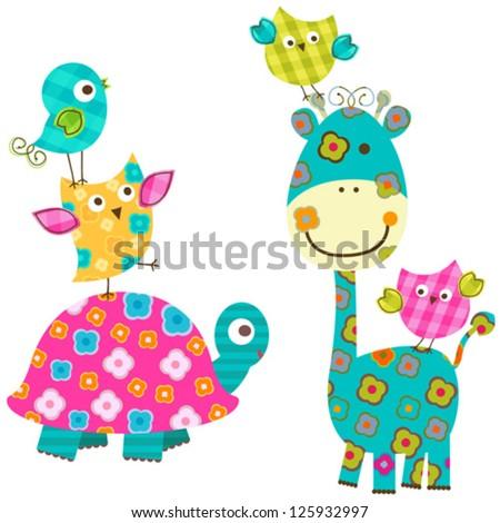 cute happy animals - stock vector