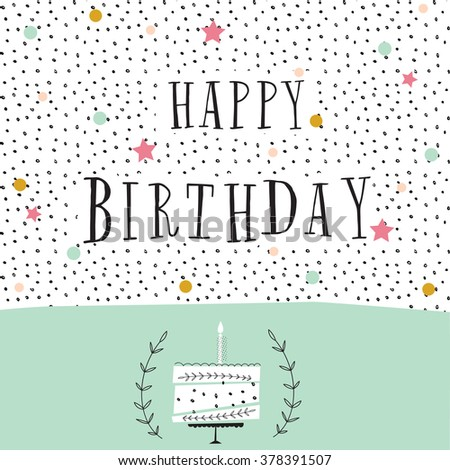 cute happy birthday card with cake and candles. vector illustration - stock vector