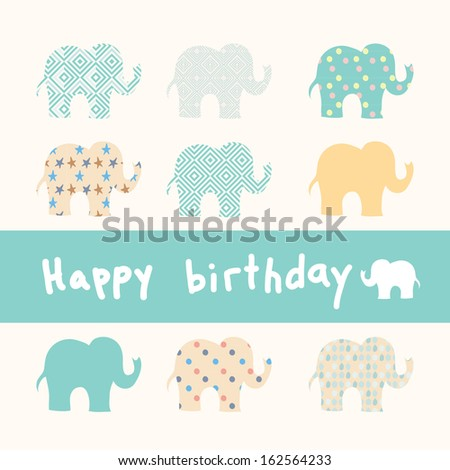 Cute happy birthday card with elephant. vector illustration - stock vector