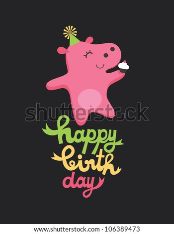 cute happy birthday card with fun hippo. vector illustration - stock vector