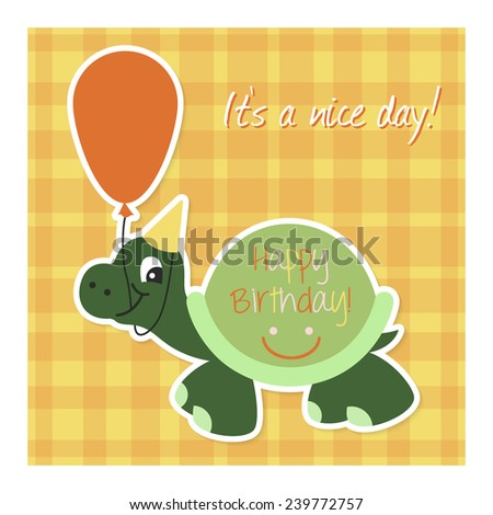 Cute happy birthday card with funny turtle and balloon on orange background. Vector illustration - stock vector