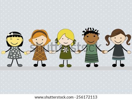 Cute happy cartoon girls - stock vector