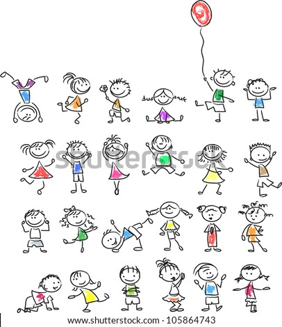 Cute happy cartoon kids - stock vector