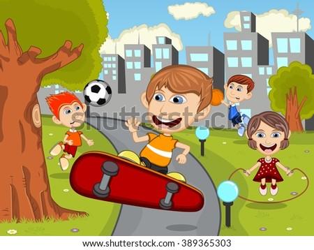 Cute happy cartoon kids playing skate board, soccer, jumping rope, running, basketball in the park cartoon vector illustration - stock vector