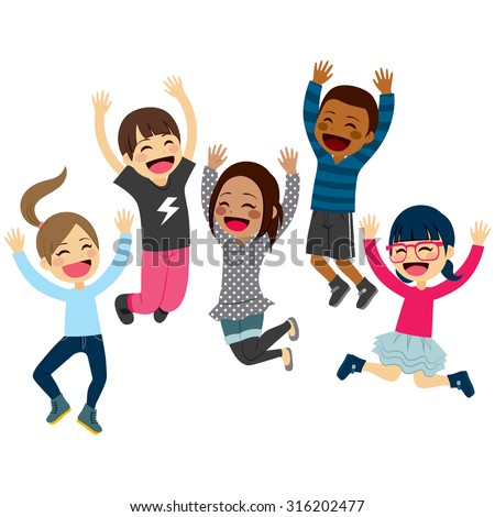 Cute happy children jumping together with arms up and winter fashion clothes - stock vector