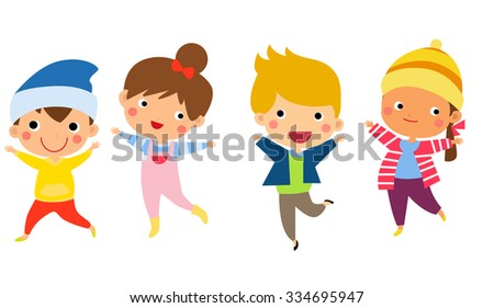 Cute happy children jumping together with winter fashion clothes - stock vector
