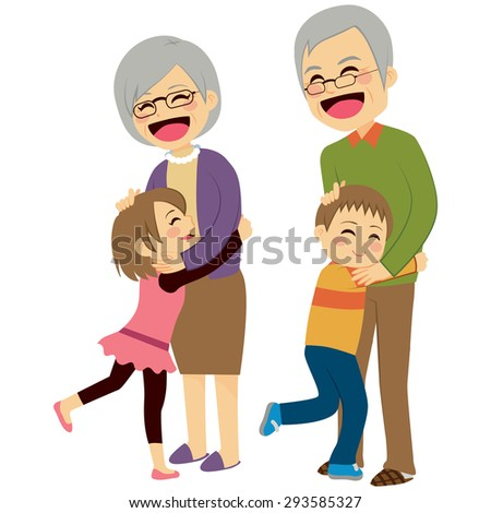 Cute happy little grandchildren hugging their grandparents - stock vector