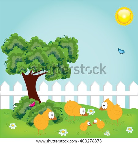 Cute happy little yellow Easter chickens  and spring tree - stock vector