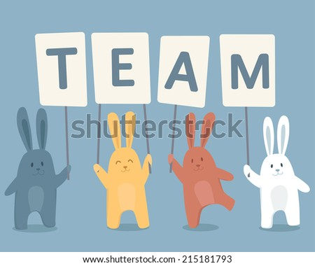 Cute happy rabbits searching for team. Vector illustration - stock vector