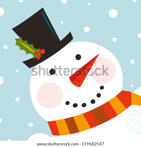 Cute happy Snowman face with snowing background - stock vector