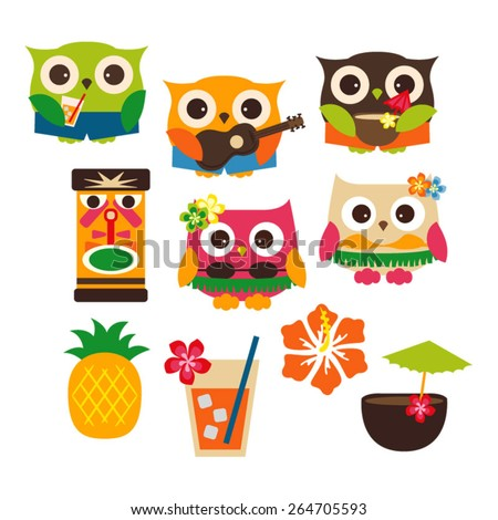 Cute Hawaii owl vector. - stock vector