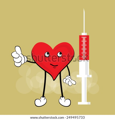 Cute Heart Cartoon Mascot Character, medical vector design - stock vector