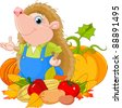 Cute hedgehog with harvest of fruits and vegetables - stock vector
