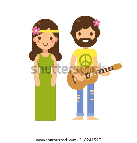Cute hippie couple, woman in long dress and man with guitar, with flowers in hair. Modern flat vector cartoon style. - stock vector