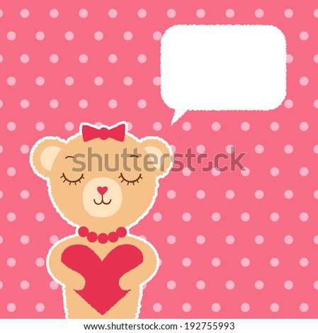 Cute hipster bear with heart on pink background - stock vector