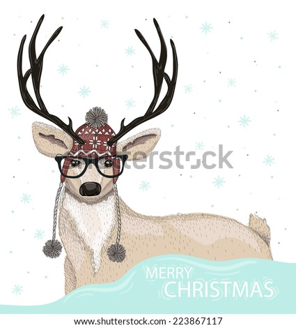 Cute hipster deer with hat and glasses winter background. Christmas greeting card - stock vector