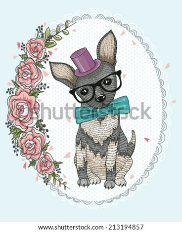 Cute hipster dog and flower frame. - stock vector