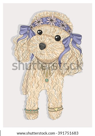 Cute hipster dog. Fashion illustration with poodle - stock vector